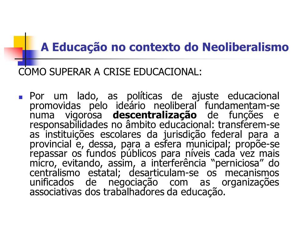 A Educação no contexto do Neoliberalismo COMO SUPERAR A CRISE EDUCACIONAL: Por um lado, as políticas de ajuste educacional promovidas pelo ideário neo