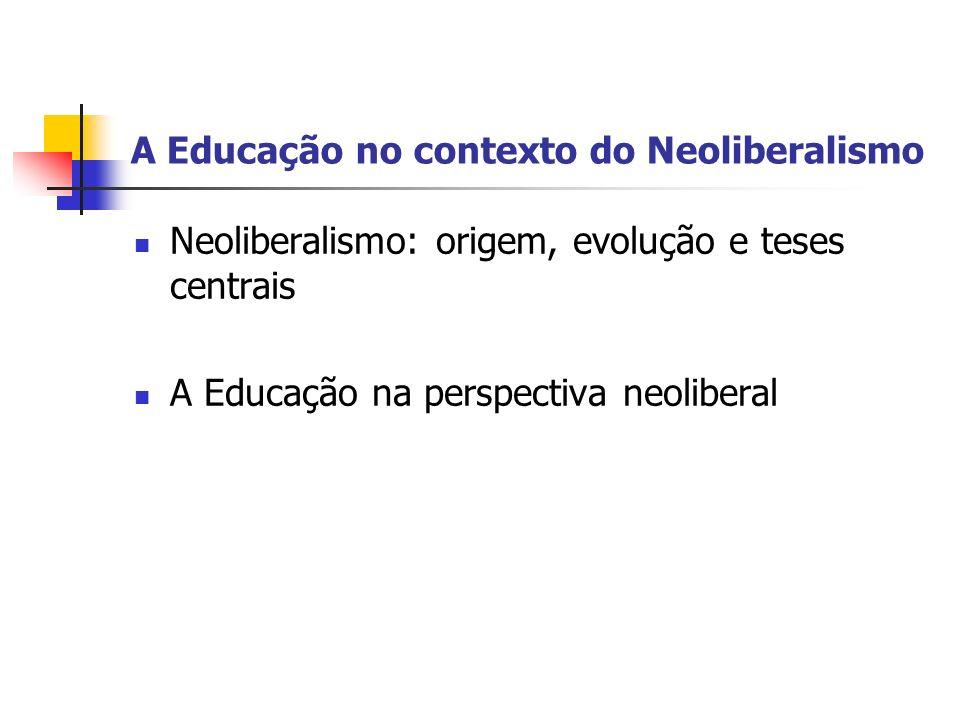 A Educação no contexto do Neoliberalismo ORIGEM Surgiu logo depois da 2ª Guerra Mundial, na Europa e na América do Norte.