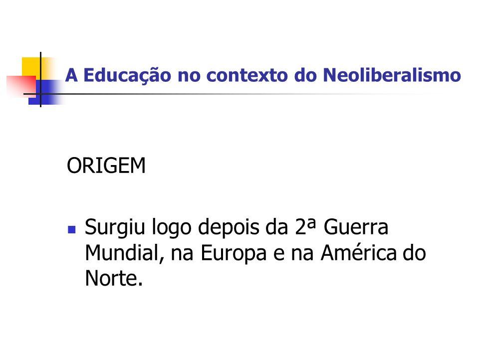 A Educação no contexto do Neoliberalismo POR QUE SURGIU.