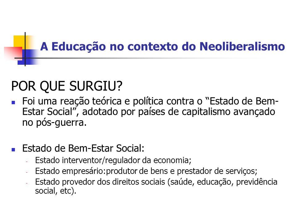 A Educação no contexto do Neoliberalismo POR QUE SURGIU? Foi uma reação teórica e política contra o Estado de Bem- Estar Social, adotado por países de
