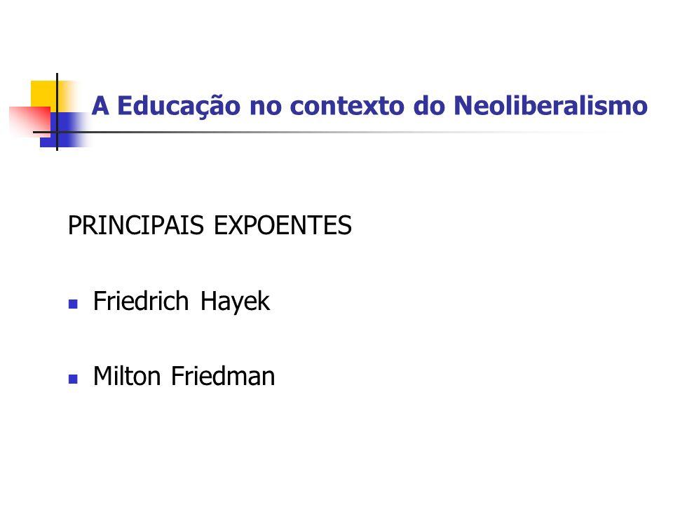 A Educação no contexto do Neoliberalismo CRÍTCA PRINCIPAL O Estado de Bem-Estar Social anula a liberdade econômica.