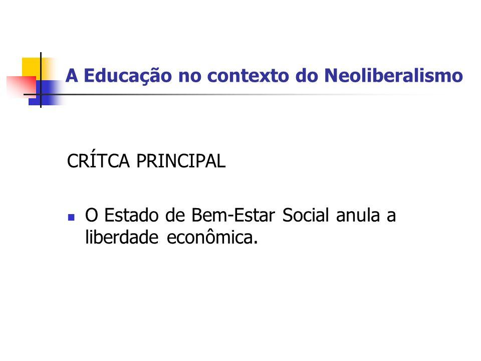 A Educação no contexto do Neoliberalismo O GRANDE CULPADO: Na perspectiva neoliberal, o principal culpado e promotor da crise educacional dos sistemas de ensino dos paises em desenvolvimento é, naturalmente, o próprio Estado interventor, centralizado e burocrático.