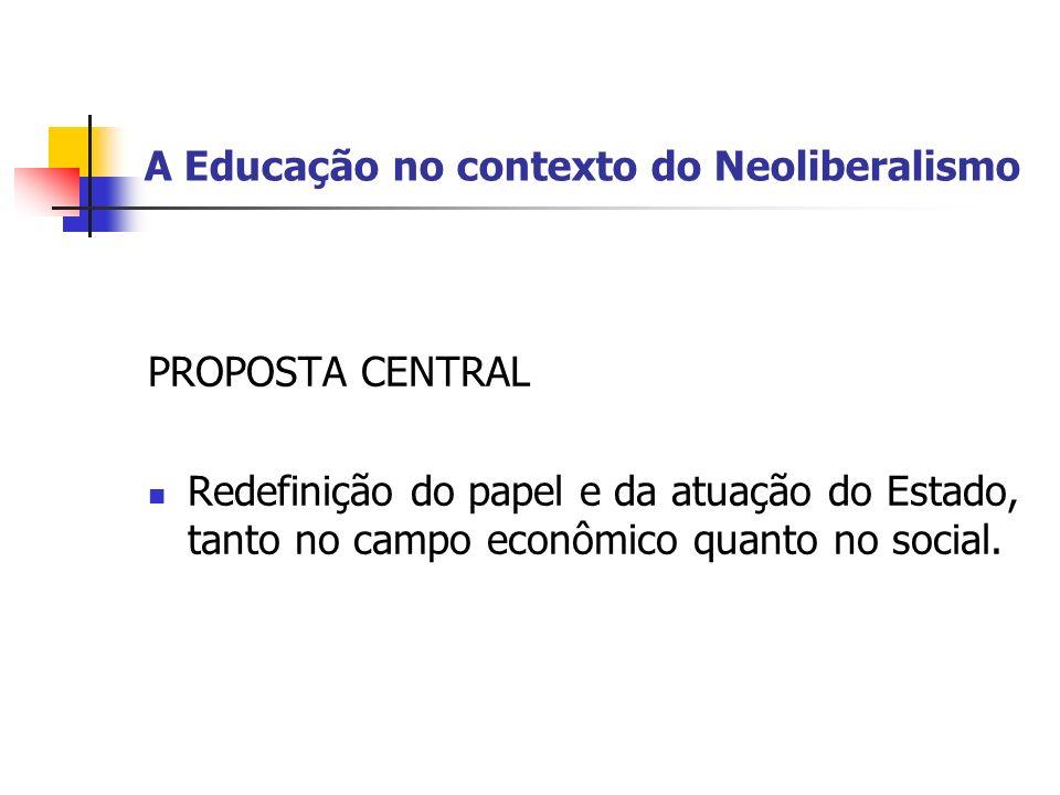 A Educação no contexto do Neoliberalismo PROPOSTA CENTRAL Redefinição do papel e da atuação do Estado, tanto no campo econômico quanto no social.
