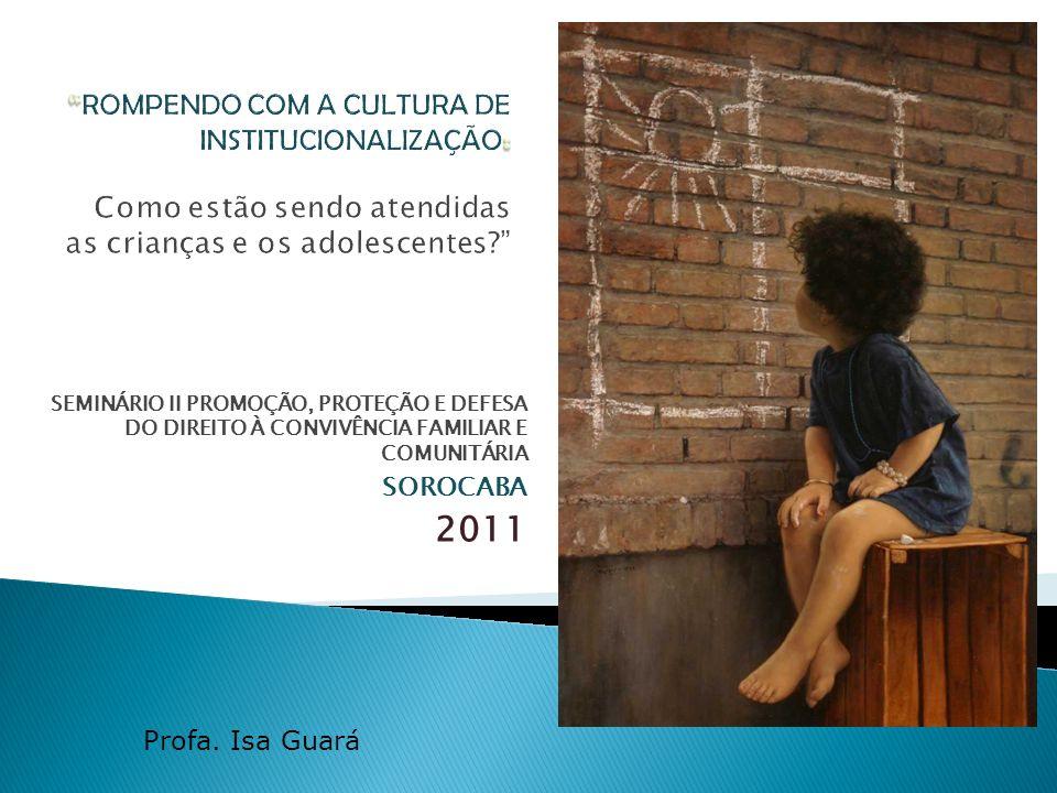 SEMINÁRIO II PROMOÇÃO, PROTEÇÃO E DEFESA DO DIREITO À CONVIVÊNCIA FAMILIAR E COMUNITÁRIA SOROCABA 2011 Profa. Isa Guará