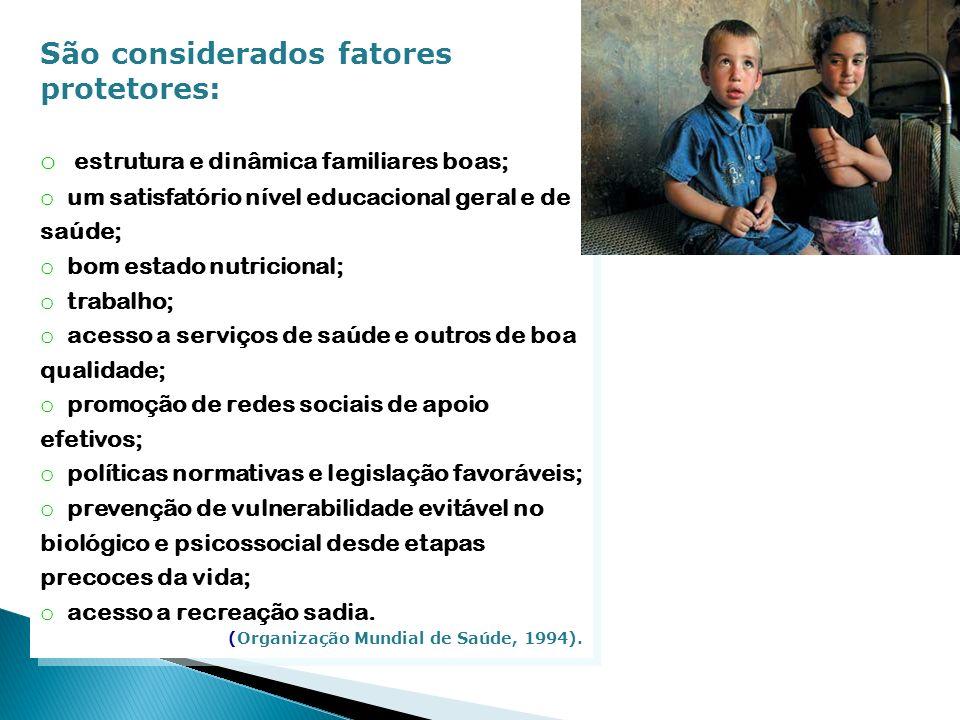 São considerados fatores protetores: o estrutura e dinâmica familiares boas; o um satisfatório nível educacional geral e de saúde; o bom estado nutric