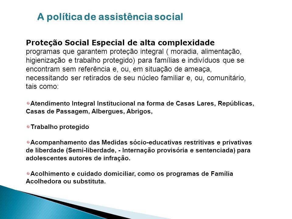 Proteção Social Especial de alta complexidade programas que garantem proteção integral ( moradia, alimentação, higienização e trabalho protegido) para