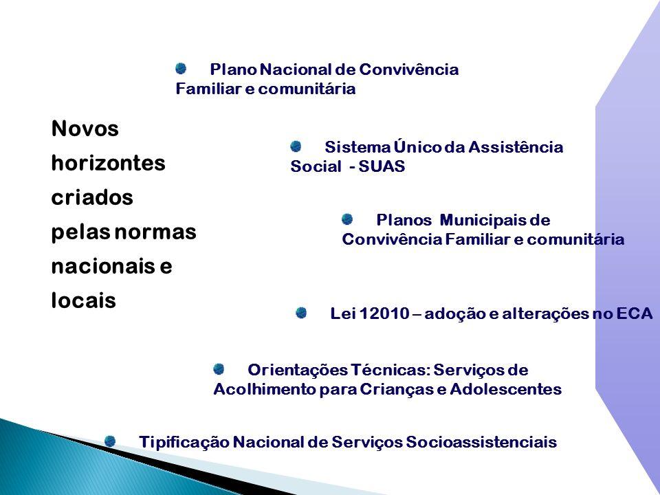 Novos horizontes criados pelas normas nacionais e locais Planos Municipais de Convivência Familiar e comunitária Plano Nacional de Convivência Familia
