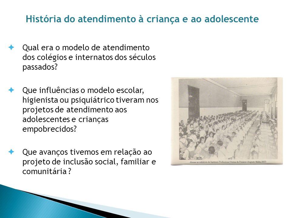 Qual era o modelo de atendimento dos colégios e internatos dos séculos passados? Que influências o modelo escolar, higienista ou psiquiátrico tiveram