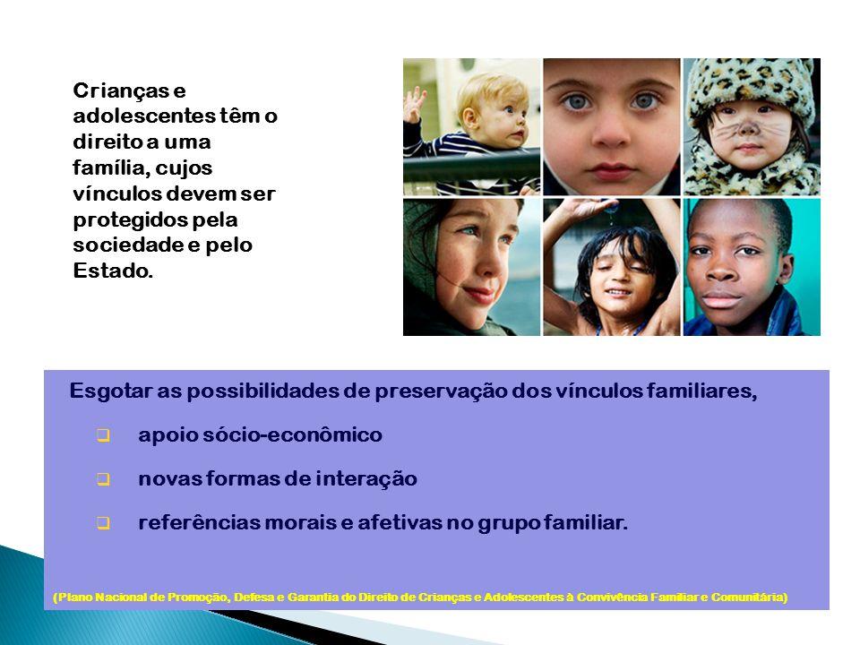 Esgotar as possibilidades de preservação dos vínculos familiares, apoio sócio-econômico novas formas de interação referências morais e afetivas no gru