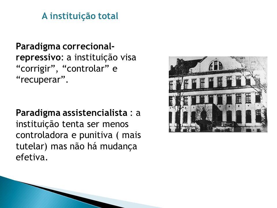 Paradigma correcional- repressivo: a instituição visa corrigir, controlar e recuperar. Paradigma assistencialista : a instituição tenta ser menos cont