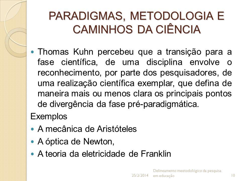 PARADIGMAS, METODOLOGIA E CAMINHOS DA CIÊNCIA Thomas Kuhn percebeu que a transição para a fase científica, de uma disciplina envolve o reconhecimento,