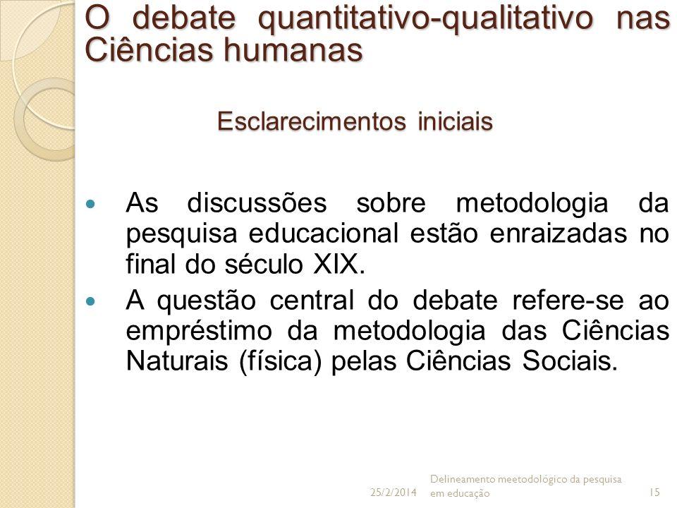 Esclarecimentos iniciais As discussões sobre metodologia da pesquisa educacional estão enraizadas no final do século XIX. A questão central do debate
