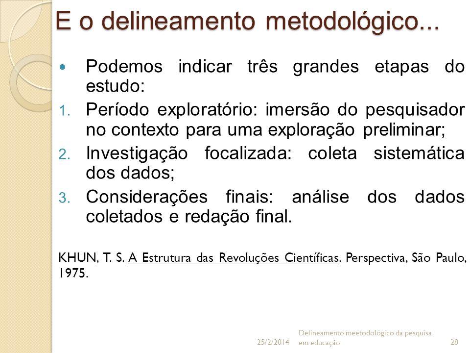 E o delineamento metodológico... Podemos indicar três grandes etapas do estudo: 1. Período exploratório: imersão do pesquisador no contexto para uma e