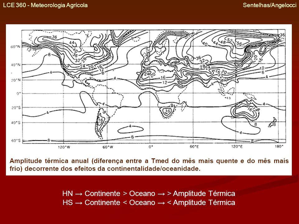 LCE 360 - Meteorologia Agrícola Sentelhas/Angelocci Amplitude térmica anual (diferença entre a Tmed do mês mais quente e do mês mais frio) decorrente