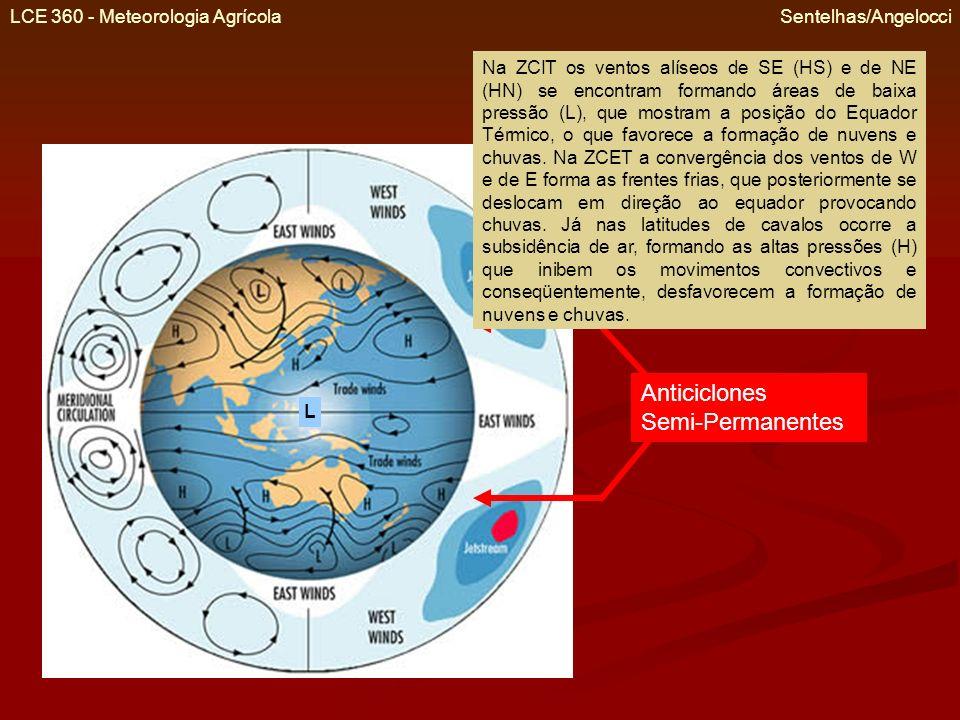LCE 360 - Meteorologia Agrícola Sentelhas/Angelocci Anticiclones Semi-Permanentes Na ZCIT os ventos alíseos de SE (HS) e de NE (HN) se encontram forma