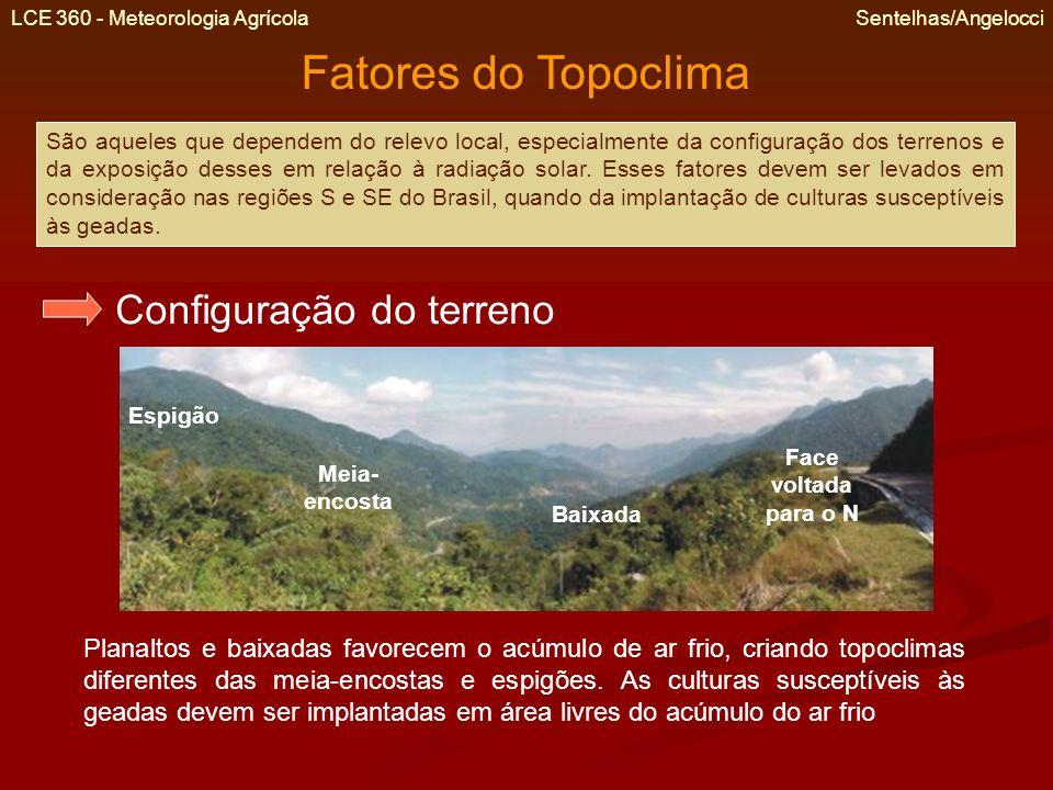 LCE 360 - Meteorologia Agrícola Sentelhas/Angelocci Exposição do terreno Nas regiões S e SE do Brasil, os terrenos com faces voltadas para o N são, em média, mais ensolarados, secos e quentes do que as voltadas para o S.