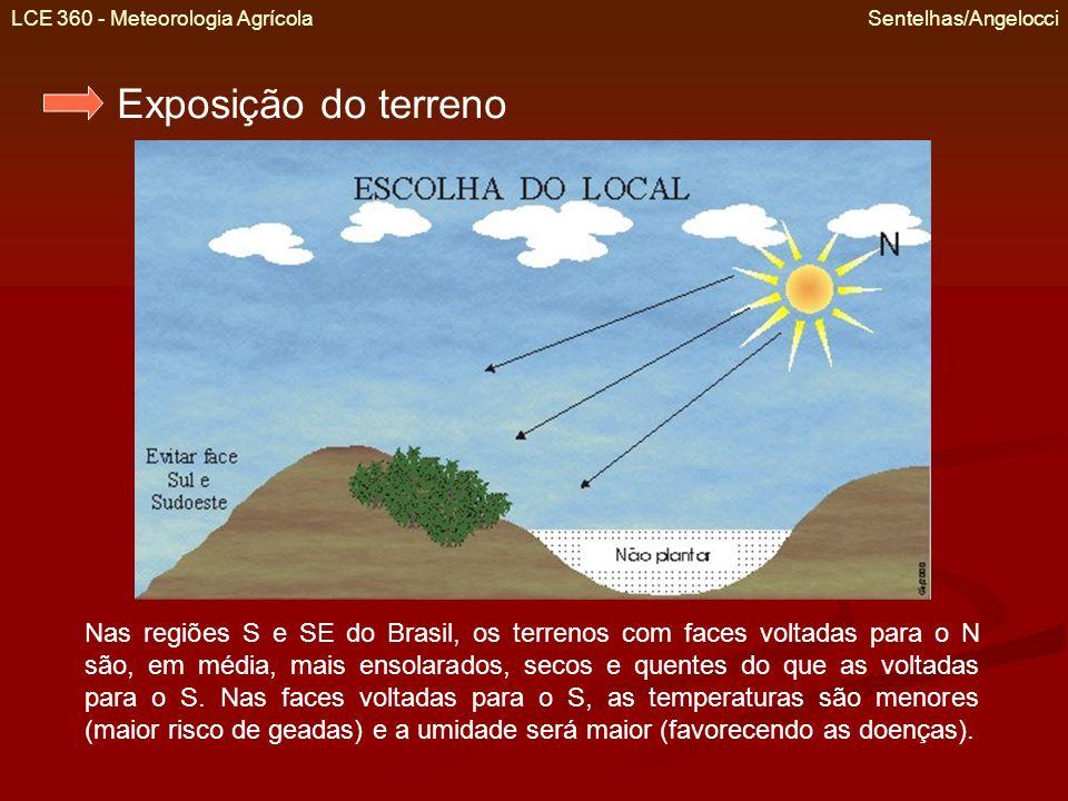 LCE 360 - Meteorologia Agrícola Sentelhas/Angelocci Exposição do terreno Nas regiões S e SE do Brasil, os terrenos com faces voltadas para o N são, em