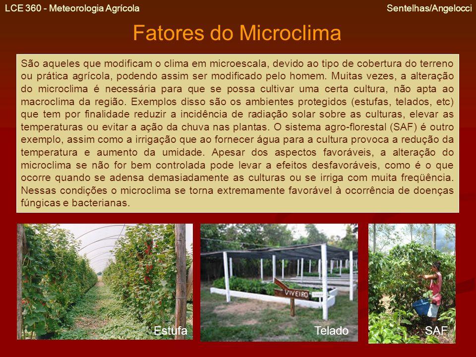 LCE 360 - Meteorologia Agrícola Sentelhas/Angelocci Fatores do Microclima São aqueles que modificam o clima em microescala, devido ao tipo de cobertur