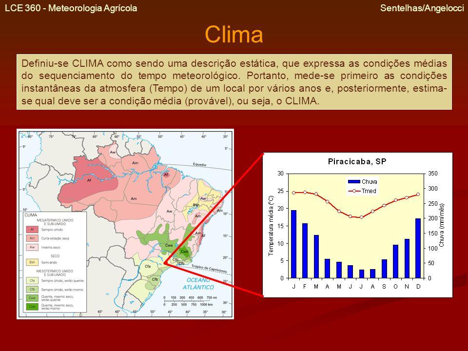 LCE 360 - Meteorologia Agrícola Sentelhas/Angelocci Clima Definiu-se CLIMA como sendo uma descrição estática, que expressa as condições médias do sequ
