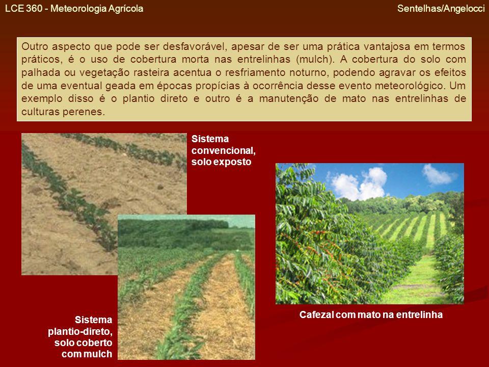 LCE 360 - Meteorologia Agrícola Sentelhas/Angelocci Outro aspecto que pode ser desfavorável, apesar de ser uma prática vantajosa em termos práticos, é