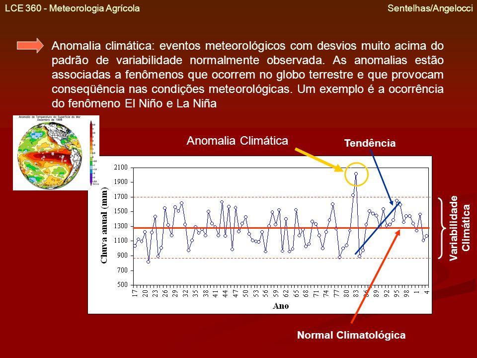 LCE 360 - Meteorologia Agrícola Sentelhas/Angelocci Anomalia climática: eventos meteorológicos com desvios muito acima do padrão de variabilidade norm