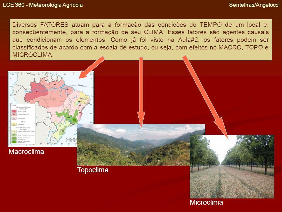 LCE 360 - Meteorologia Agrícola Sentelhas/Angelocci Fatores do Macroclima São aqueles que atuam em escala regional ou geográfica.