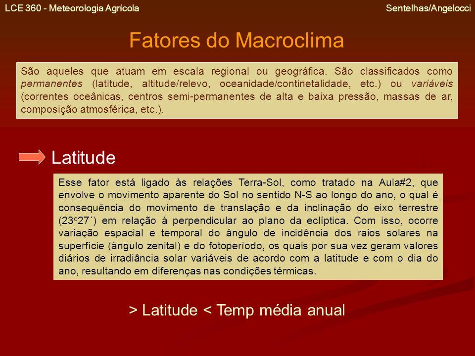 LCE 360 - Meteorologia Agrícola Sentelhas/Angelocci Fatores do Macroclima São aqueles que atuam em escala regional ou geográfica. São classificados co