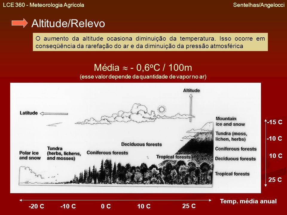 LCE 360 - Meteorologia Agrícola Sentelhas/Angelocci Altitude/Relevo O aumento da altitude ocasiona diminuição da temperatura. Isso ocorre em conseqüên