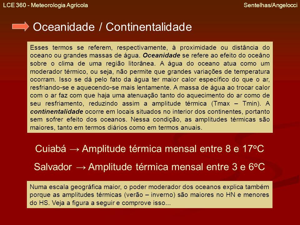 LCE 360 - Meteorologia Agrícola Sentelhas/Angelocci Amplitude térmica anual (diferença entre a Tmed do mês mais quente e do mês mais frio) decorrente dos efeitos da continentalidade/oceanidade.