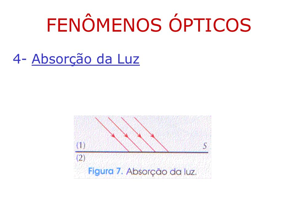 FENÔMENOS ÓPTICOS 4- Absorção da Luz