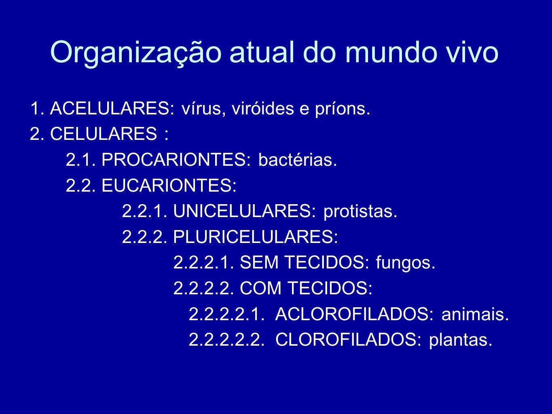 Organização atual do mundo vivo 1. ACELULARES: vírus, viróides e príons. 2. CELULARES : 2.1. PROCARIONTES: bactérias. 2.2. EUCARIONTES: 2.2.1. UNICELU