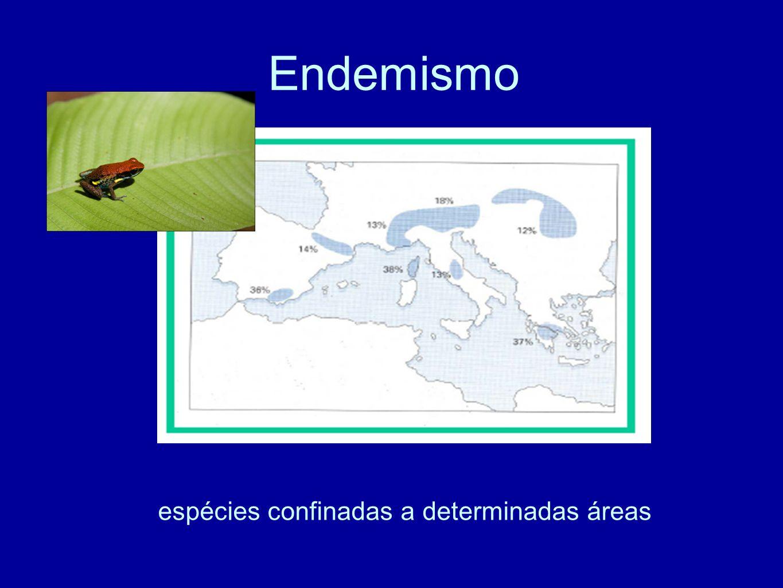 Endemismo espécies confinadas a determinadas áreas