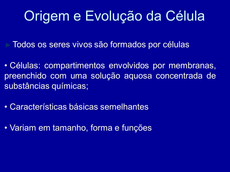 Origem e Evolução da Célula Todos os seres vivos são formados por células Células: compartimentos envolvidos por membranas, preenchido com uma solução aquosa concentrada de substâncias químicas; Características básicas semelhantes Variam em tamanho, forma e funções
