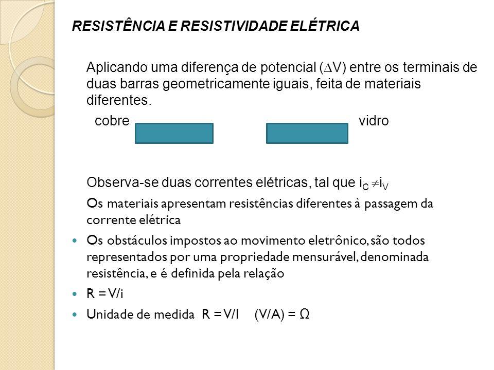 RESISTÊNCIA E RESISTIVIDADE ELÉTRICA Aplicando uma diferença de potencial ( V) entre os terminais de duas barras geometricamente iguais, feita de mate