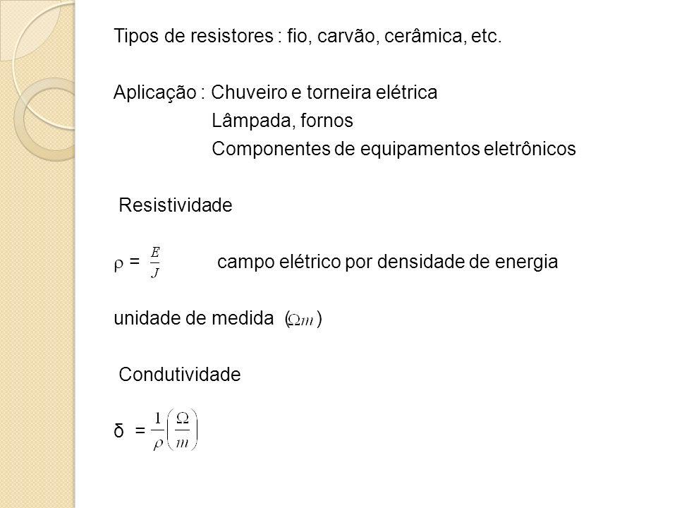 Tipos de resistores : fio, carvão, cerâmica, etc. Aplicação : Chuveiro e torneira elétrica Lâmpada, fornos Componentes de equipamentos eletrônicos Res