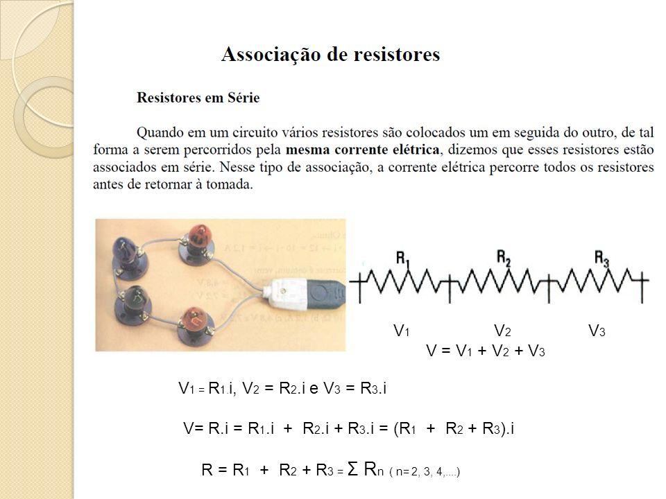 V 1 V 2 V 3 V = V 1 + V 2 + V 3 V 1 = R 1. i, V 2 = R 2.i e V 3 = R 3.i V= R.i = R 1.i + R 2.i + R 3.i = (R 1 + R 2 + R 3 ).i R = R 1 + R 2 + R 3 = Σ