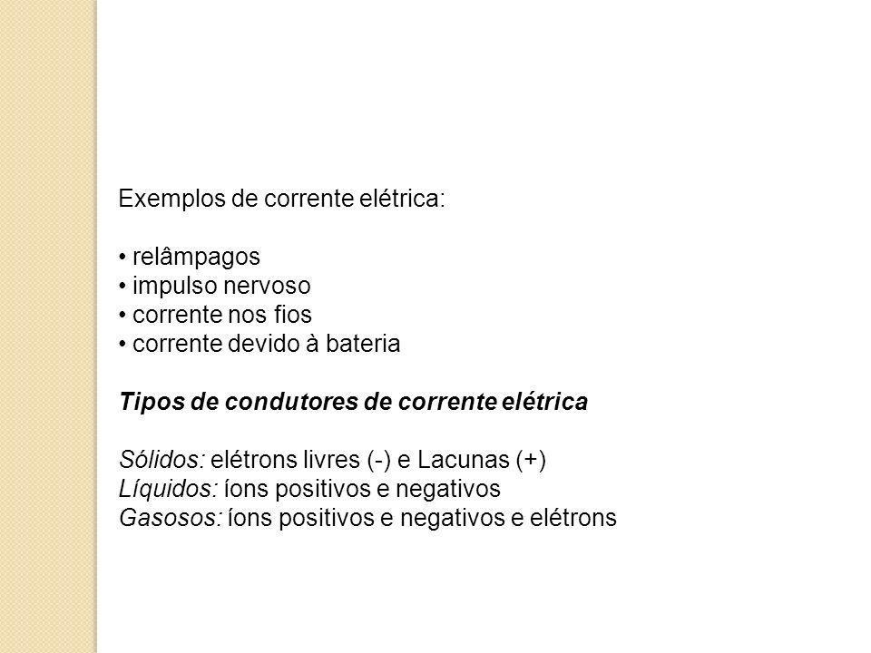 Exemplos de corrente elétrica: relâmpagos impulso nervoso corrente nos fios corrente devido à bateria Tipos de condutores de corrente elétrica Sólidos