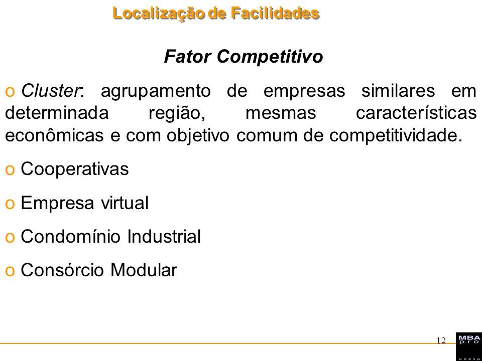 Localização de Facilidades 12 Fator Competitivo o Cluster: agrupamento de empresas similares em determinada região, mesmas características econômicas