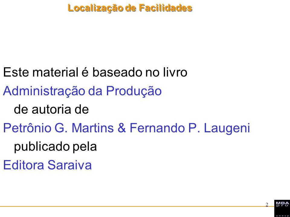 Localização de Facilidades 2 Este material é baseado no livro Administração da Produção de autoria de Petrônio G. Martins & Fernando P. Laugeni public