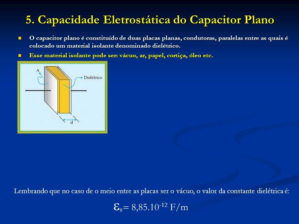 5. Capacidade Eletrostática do Capacitor Plano O capacitor plano é constituído de duas placas planas, condutoras, paralelas entre as quais é colocado
