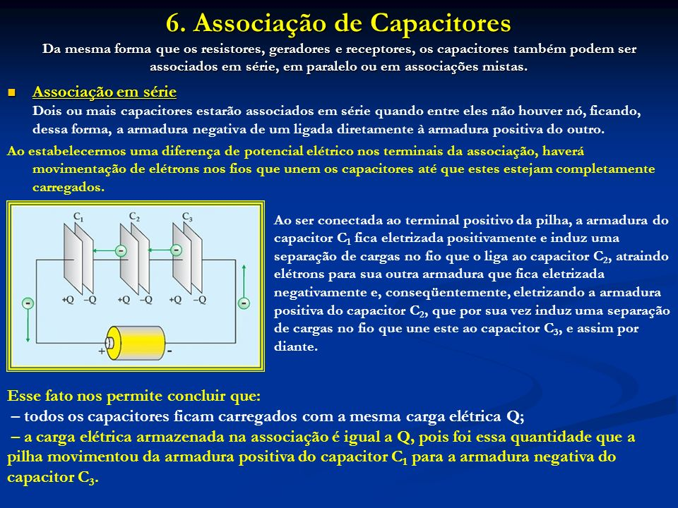 6. Associação de Capacitores Da mesma forma que os resistores, geradores e receptores, os capacitores também podem ser associados em série, em paralel