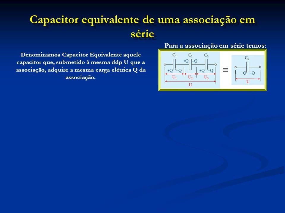 Capacitor equivalente de uma associação em série Denominamos Capacitor Equivalente aquele capacitor que, submetido à mesma ddp U que a associação, adq
