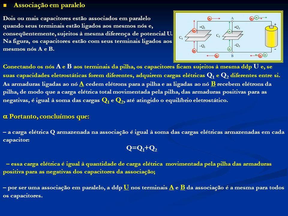 Associação em paralelo Associação em paralelo Dois ou mais capacitores estão associados em paralelo quando seus terminais estão ligados aos mesmos nós