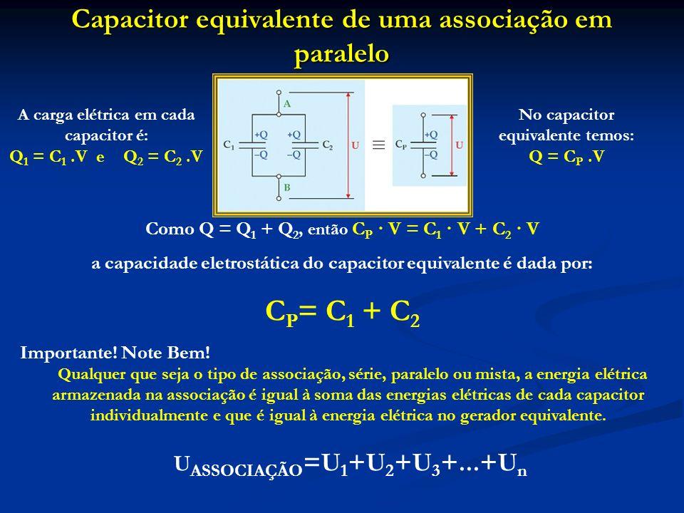 Capacitor equivalente de uma associação em paralelo Como Q = Q 1 + Q 2, então C P · V = C 1 · V + C 2 · V a capacidade eletrostática do capacitor equi