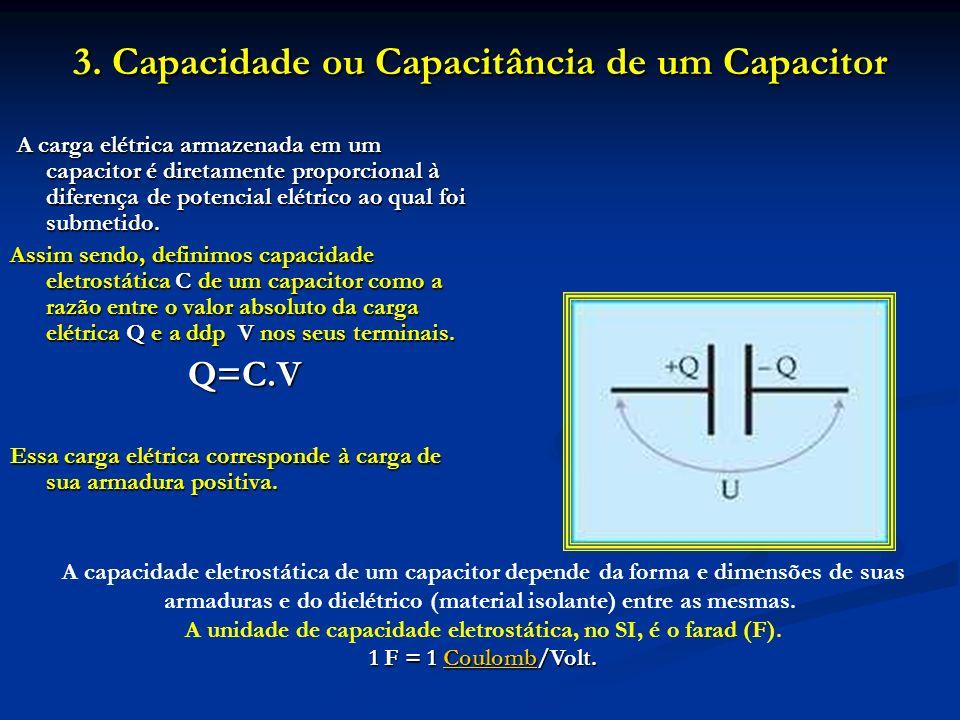 3. Capacidade ou Capacitância de um Capacitor A carga elétrica armazenada em um capacitor é diretamente proporcional à diferença de potencial elétrico