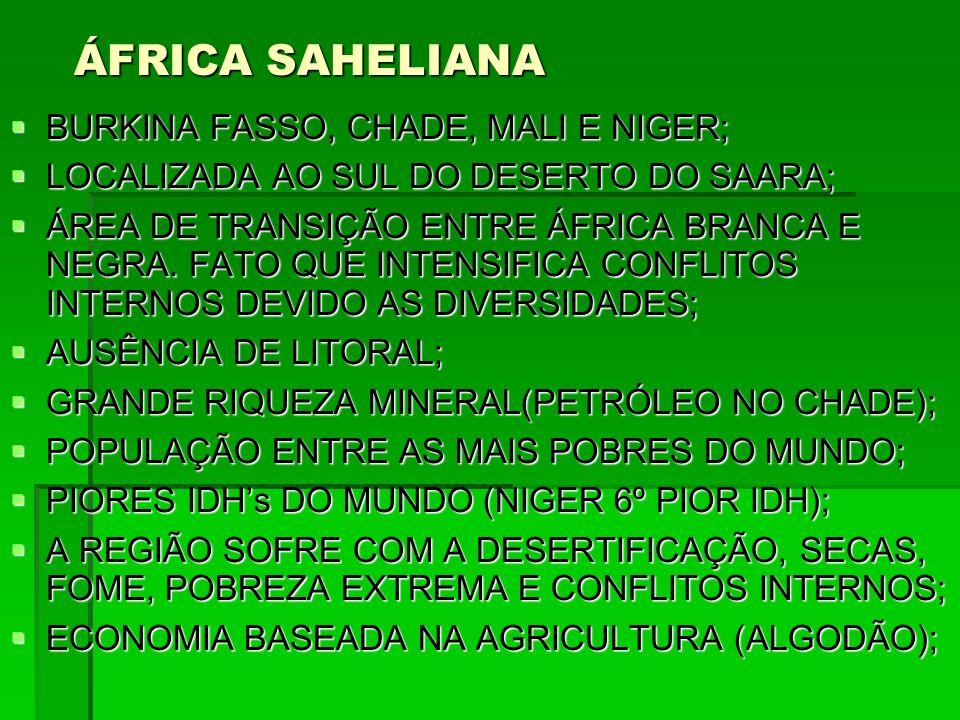 ÁFRICA SAHELIANA BURKINA FASSO, CHADE, MALI E NIGER; BURKINA FASSO, CHADE, MALI E NIGER; LOCALIZADA AO SUL DO DESERTO DO SAARA; LOCALIZADA AO SUL DO D