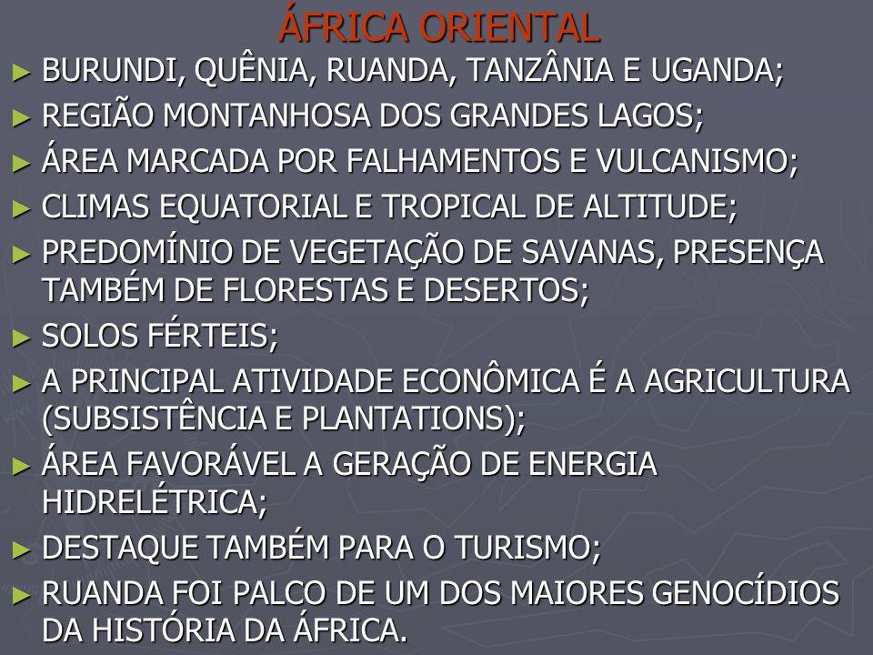 ÁFRICA ORIENTAL BURUNDI, QUÊNIA, RUANDA, TANZÂNIA E UGANDA; BURUNDI, QUÊNIA, RUANDA, TANZÂNIA E UGANDA; REGIÃO MONTANHOSA DOS GRANDES LAGOS; REGIÃO MO