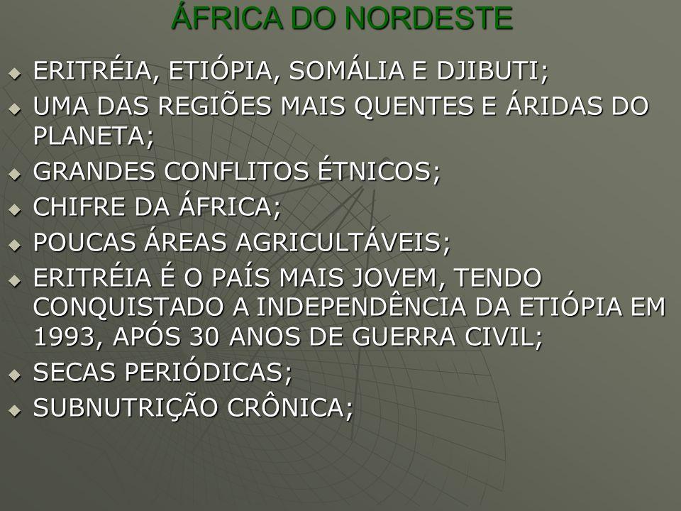 ÁFRICA DO NORDESTE ERITRÉIA, ETIÓPIA, SOMÁLIA E DJIBUTI; ERITRÉIA, ETIÓPIA, SOMÁLIA E DJIBUTI; UMA DAS REGIÕES MAIS QUENTES E ÁRIDAS DO PLANETA; UMA D