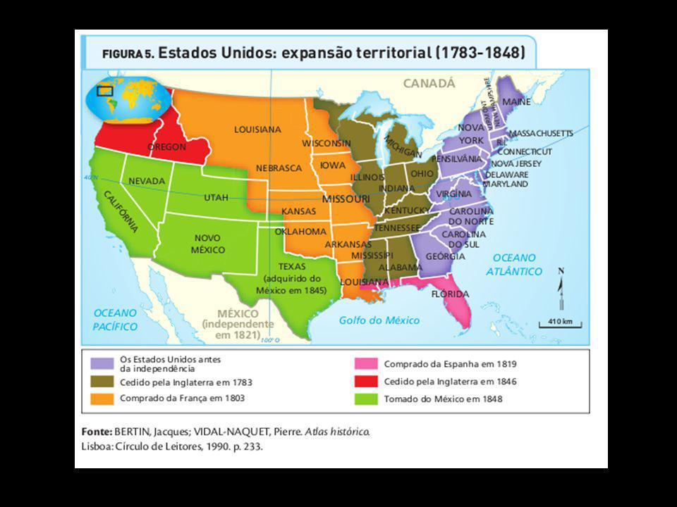 A expansão continental e oceânica. A expansão territorial dos Estados Unidos encontra sua justificativa em um ideário conhecido como Destino Manifesto