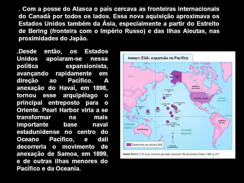 Com a posse do Alasca o país cercava as fronteiras internacionais do Canadá por todos os lados.